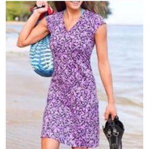 Athleta Dress Cap Sleeve Purple Black Vine  MedP